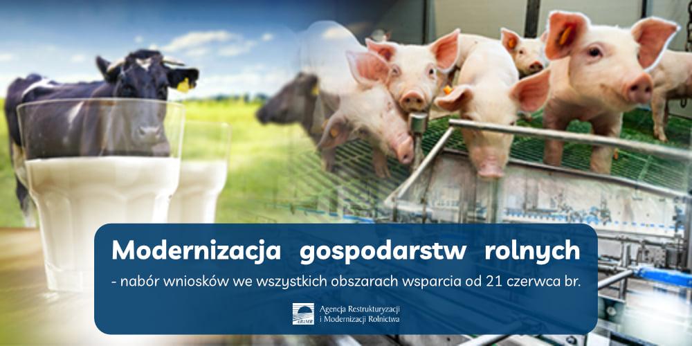 Infografika ztytułem Modernizacja Gospodarstw Rolnych opracowana przez ARMiR