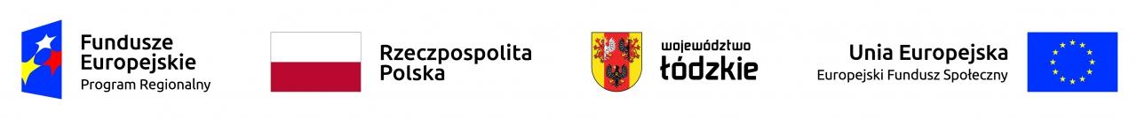 Pasek zlogotypami Fundusze Europejskie, flaga Polski, Herb województwa łódzkiego, flaga Unii Europejskiej.